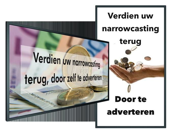 Narrowcasting terug verdienen, door zelf te adverteren