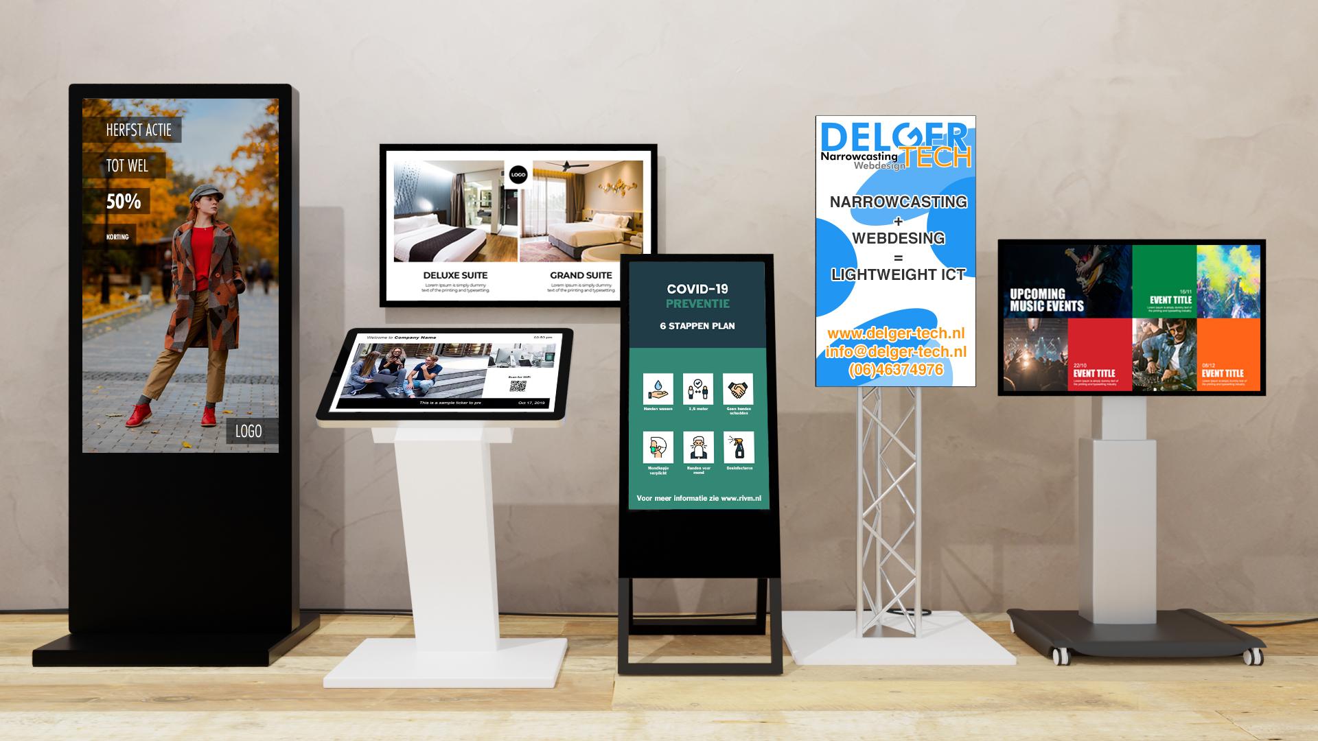 narrowcasting is digital signage ePoster kiosk truss trolly stoepbord